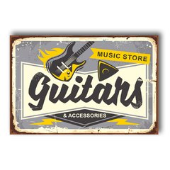 PLACA MUSIC STORE GUITARS - comprar online