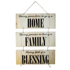 PLACA HOME, FAMILY, BLESSING C/ CORDA 70x40 cm