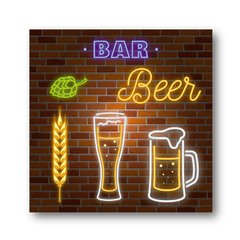 PLACA LIGHTS BEER 20x20 cm