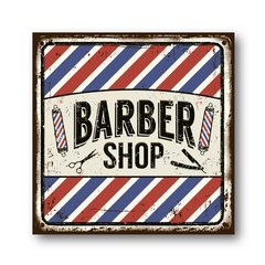 PLACA BARBER SHOP CUT 20x20 cm