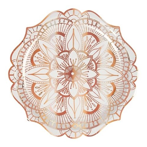 PLATOS GRANDES MANDALAS GOLD ROSE x 8