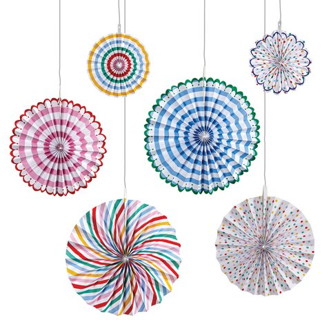SET DECO DE 6 ABANICOS MULTICOLOR