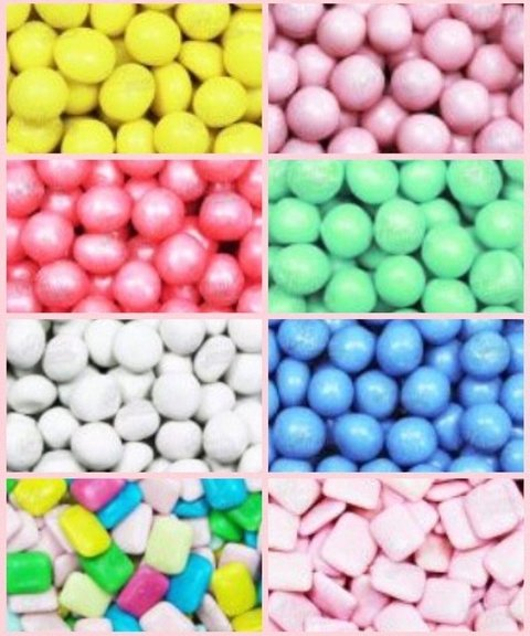 Candy Bar - Chicles - Lentejas de chocolate y Chupetines por color