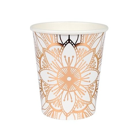 VASOS MANDALA GOLD ROSE x 8