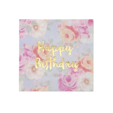 SERVILLETAS FLOREADAS CON HAPPY BIRTHDAY EN DORADO - comprar online