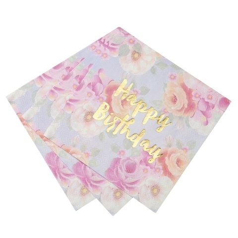 SERVILLETAS FLOREADAS CON HAPPY BIRTHDAY EN DORADO