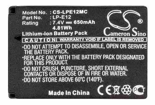 Bateria Canon D Lpe12  Eos 100d Eos-m Eos M M2 Rebel Sl