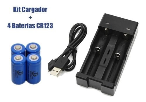 Cargador Doble 18650 16340 Corte Automatico +4 Pilas Cr123