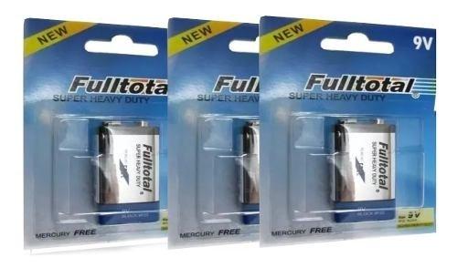 Baterias 9v Azul Carbon Full Total 3 Unidades