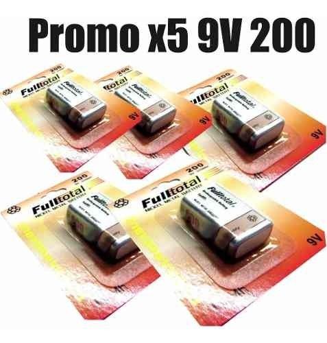 5 Baterias Recargables 9v Full Total 200 Mah
