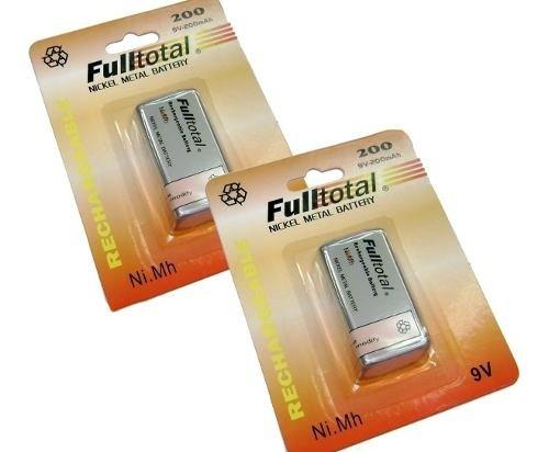 Kit X2 Baterias 9v Recargables  Full Total 200 Nimh