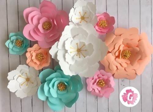 Flores de papel de 35 a 25 cm guinda decoraci n for Rosas de decoracion