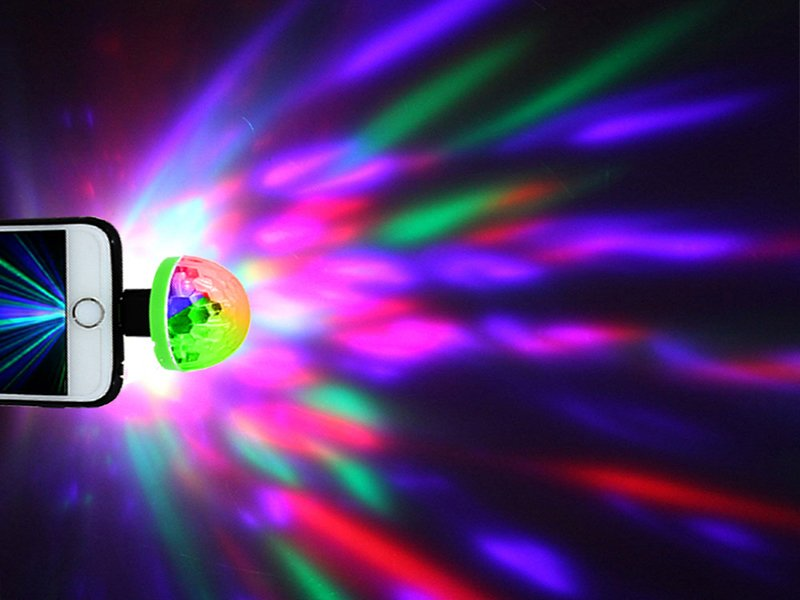 Mini Bola Disco LUCES DE COLORES usb/mini usb