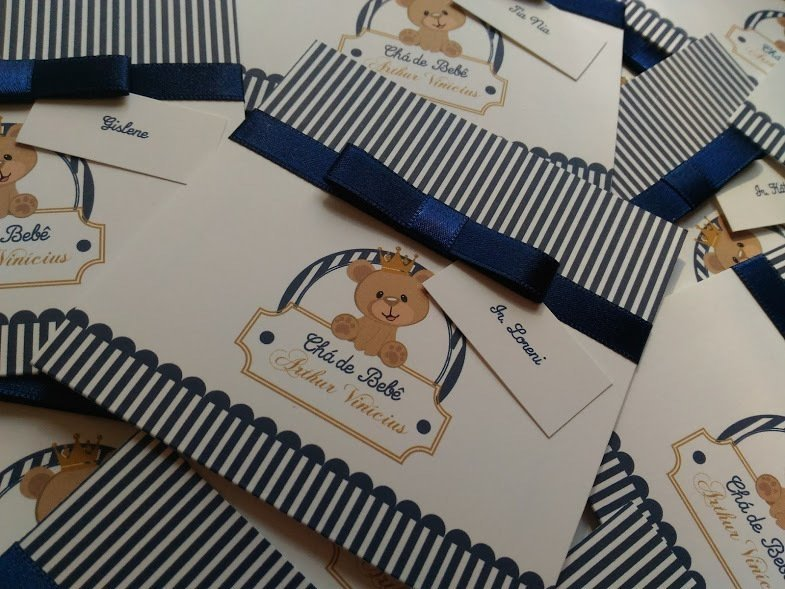 Convite Para Cha De Bebe Ursinho Principe Dconvite