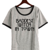 Remera Dama Ringer Baddest Witch