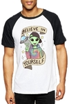 Remera Unisex Ranglan Alien Believe Yourself