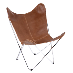 BUTTERFLY CHAIR · C H R O M E · LEATHER - buy online