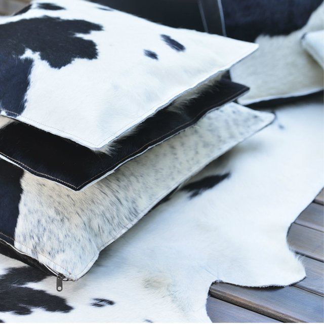 BLACK COWHIDE PILLOW 50 x 50 on internet