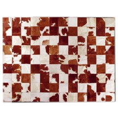 BROWN AND WHITE MIXED COWHIDE RUG
