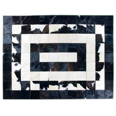 CONCENTRIC BLACK AND WHITE COWHIDE RUG - buy online
