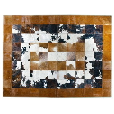 CONCENTRIC BLACK AND BROWN COWHIDE RUG - buy online