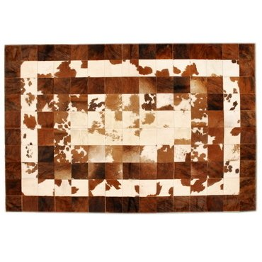 CONCENTRIC  BROWN AND WHITE COWHIDE RUG
