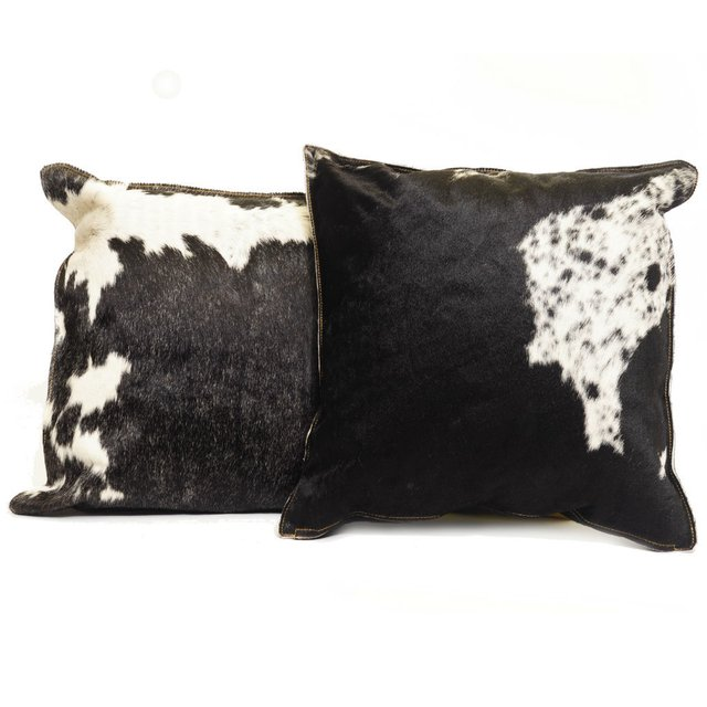 BLACK COWHIDE PILLOW 50 x 50
