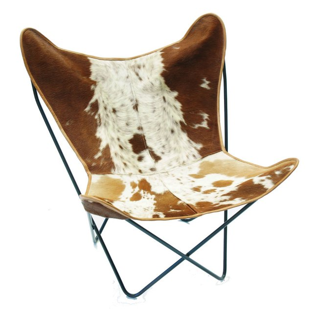 BROWN COWHIDE BUTTERFLY CHAIR