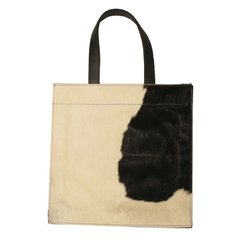 SQUARE COWHIDE AND LEATHER BAG - buy online
