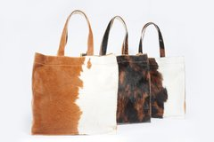 Image of SQUARE COWHIDE AND LEATHER BAG