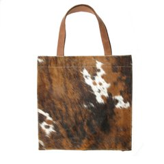 SQUARE COWHIDE AND LEATHER BAG