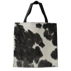 SQUARE COWHIDE AND LEATHER BAG on internet