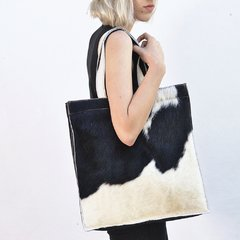 SQUARE COWHIDE AND LEATHER BAG - online store