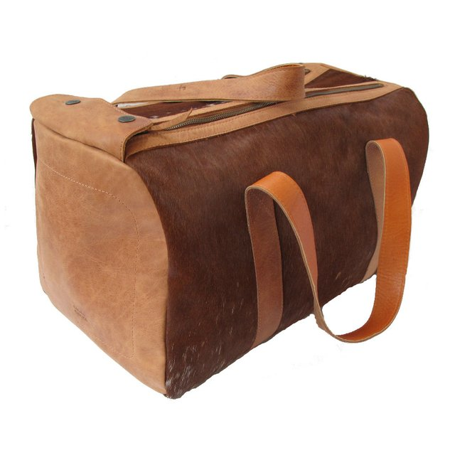 LEATHER TRAVEL BAG WITH HAIR - buy online