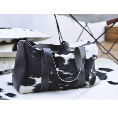 BLACK LEATHER TRAVEL BAG WITH HAIR - CALMA CHICHA