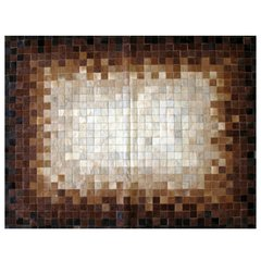 PIXELED BROWN DEGRADE COWHIDE RUG