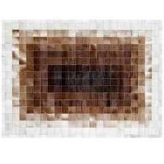 CONCENTRIC WHITE AND BROWN COWHIDE RUG