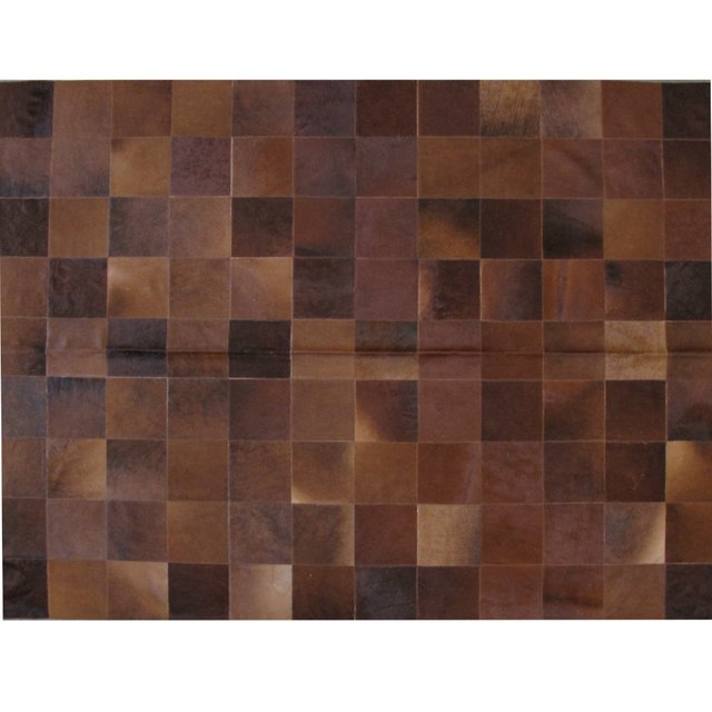 PLAIN DARK BROWN COWHIDE RUG - buy online