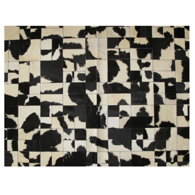 MULTIFORM BLACK WHITE COWHIDE RUG