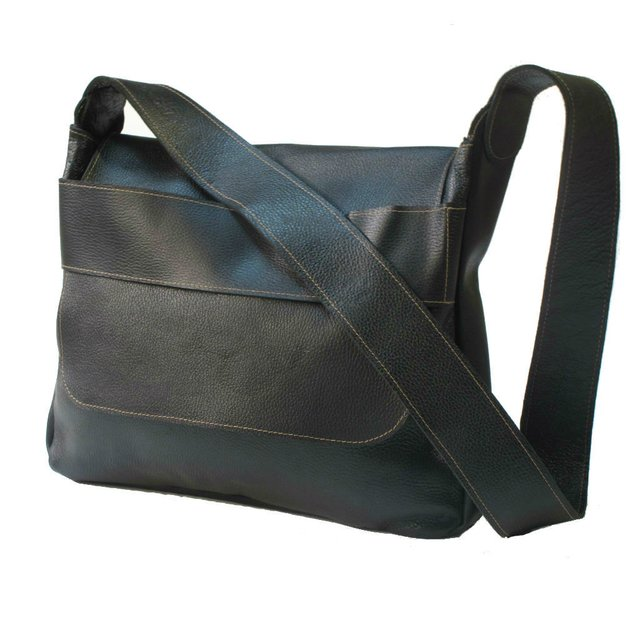 BLACK LEATHER CARPET BAG - buy online