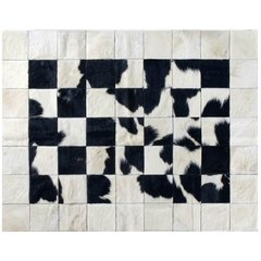 BORDERED BLACK SPLASHED COWHIDE RUG