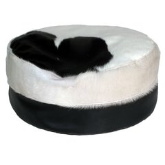 BLACK COWHIDE CYLINDER BEAN BAG