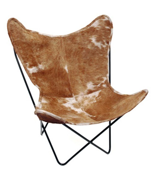 BROWN COWHIDE BUTTERFLY CHAIR on internet