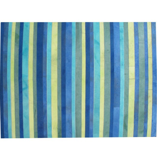 COLD COLORS STRIPES COWHIDE RUG