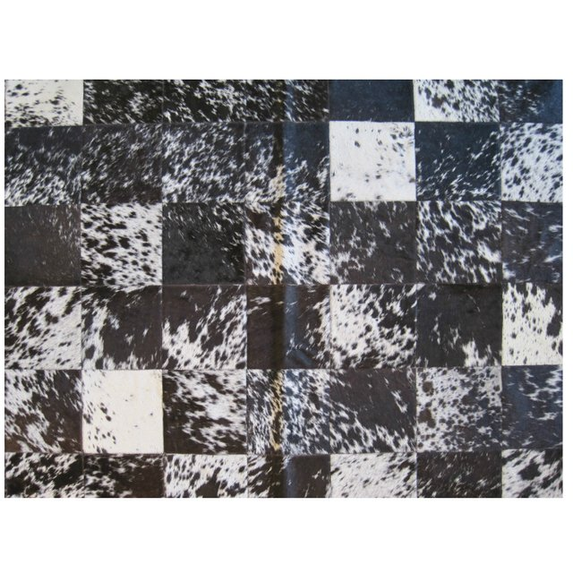 MIXED SPLASHED BLACK WHITE COWHIDE RUG - buy online