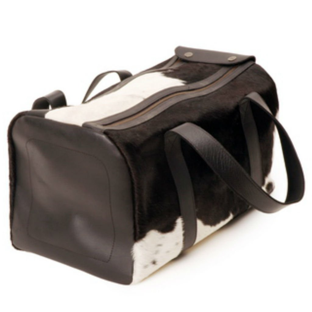 BLACK LEATHER TRAVEL BAG WITH HAIR. 0% OFF b82c350e6d3ce