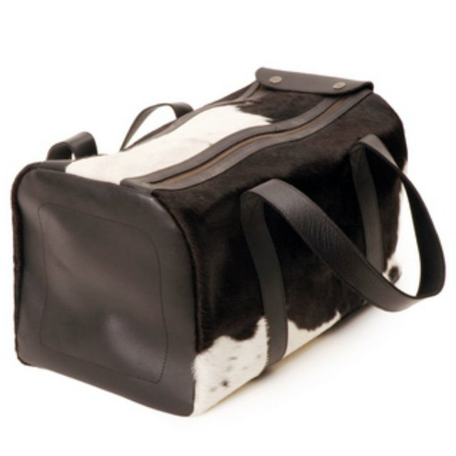 BLACK LEATHER TRAVEL BAG WITH HAIR