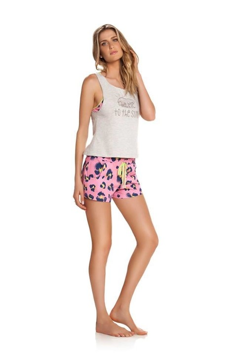 PIJAMA REGATA E SHORT ANIMAL PRINT PINK