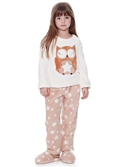 Pijama de fleece infantil - Owl love