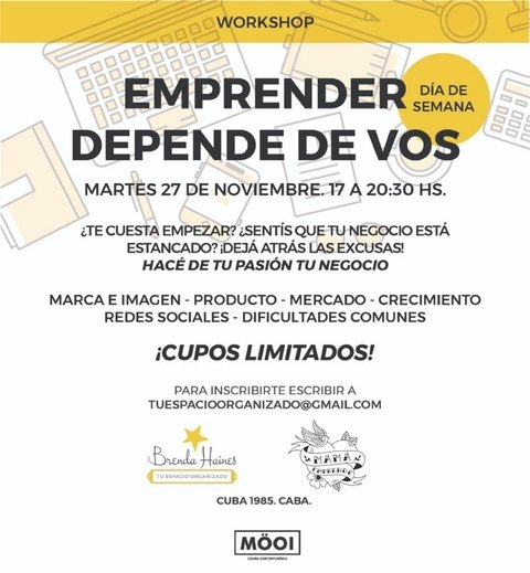 WORKSHOP EMPRENDER DEPENDE DE VOS